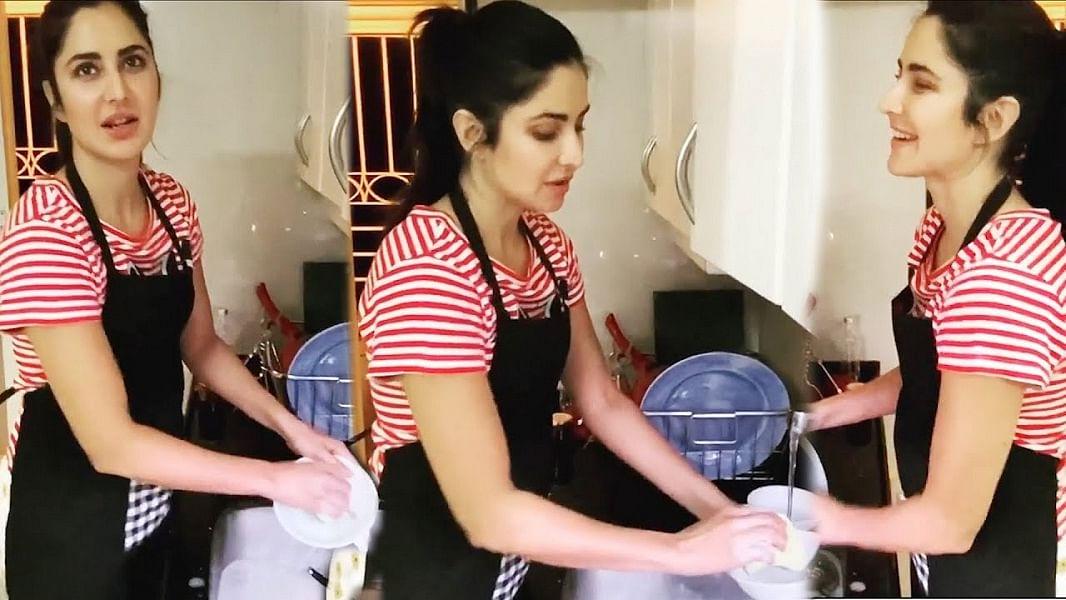 Self Isolation में बर्तन धोते हुए Katrina Kaif  का वीडियो VIRAL