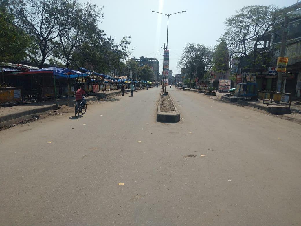 जनता कर्फ्यू के दौरान औरंगाबाद मुख्यालय में सड़क पर सन्नाटा