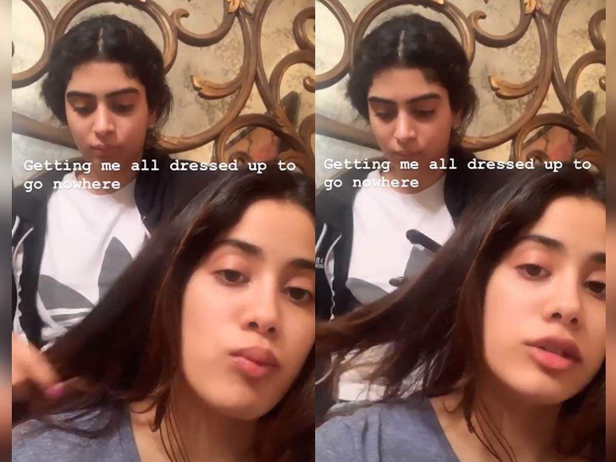 जाह्नवी कपूर ने अपनी इंस्टाग्राम स्टोरी पर एक वीडियो शेयर किया है, जिसमें उनकी बहन उनके बाल सवार रही है.