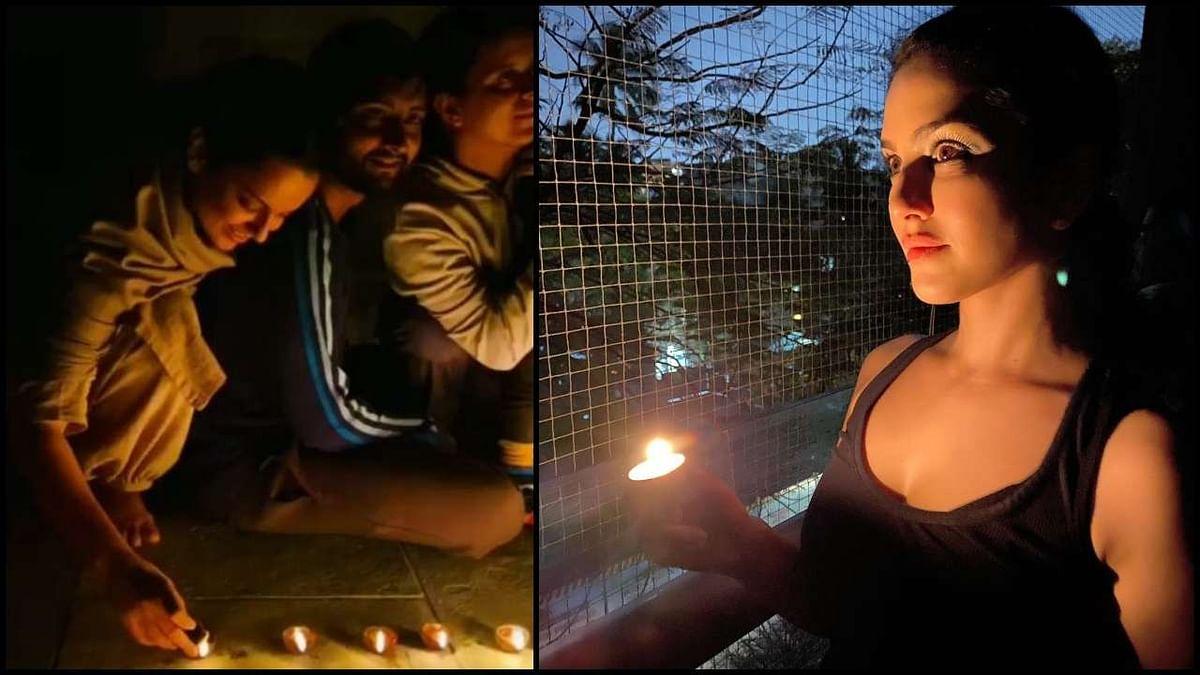 कंगना रनौत ने अपने परिवार के साथ दीया जलाया. वहीं, सन्नी लियोनी ने भी मोमबत्ती जलाया.