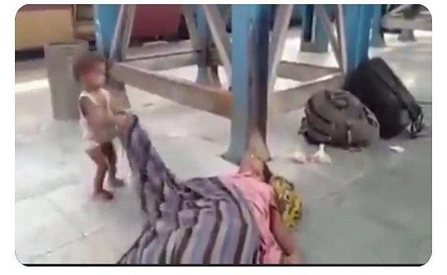 प्लेटफार्म के फर्श पर पड़ी मां की लाश को जगाने की कोशिश कर रहे मासूम का वीडियो हो रहा वायरल, हैशटैग Muzaffarpur ट्विटर पर कर रहा ट्रेंड