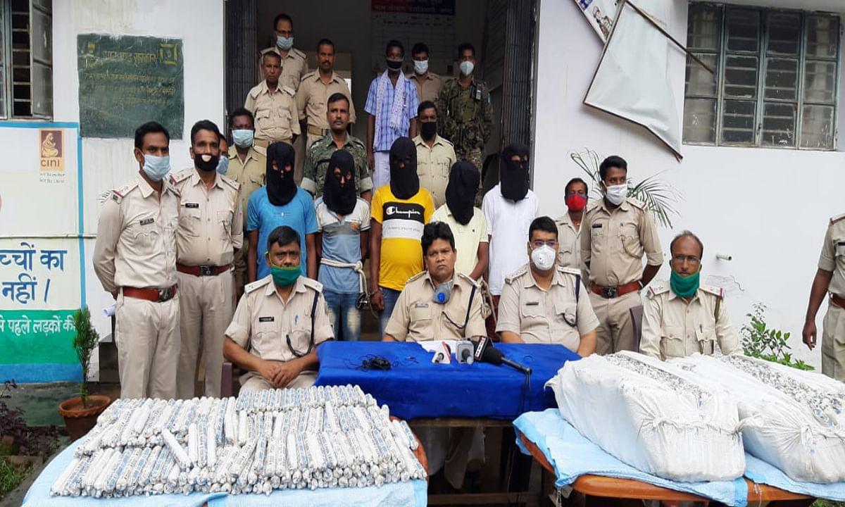 जामा में 4000 किलो अमोनियम नाइट्रेट और 4000 जिलेटिन बरामद, हाइवा मालिक सहित 5 गिरफ्तार