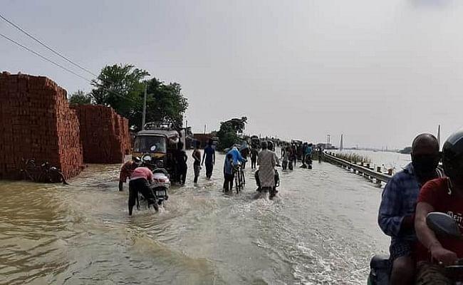 समस्तीपुर में बैंती नदी का बांध टूटा, हजारों एकड़ में फैला बाढ़ का पानी, दरभंगा के लैला चौर में पुल ध्वस्त