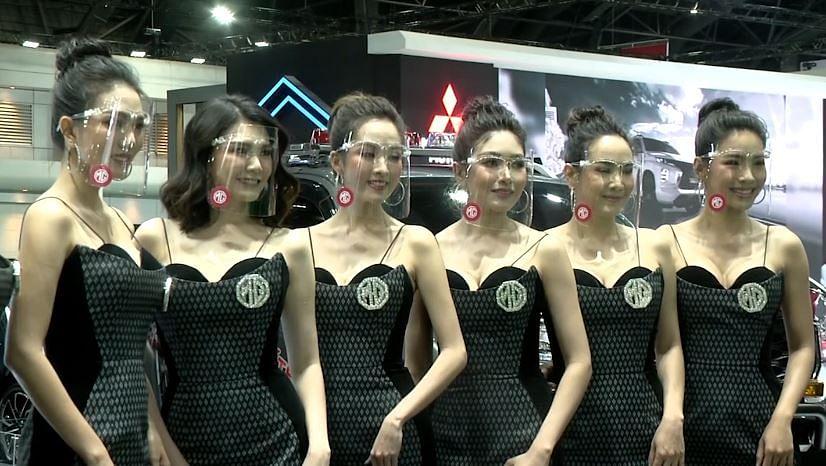 face shielded models at Bangkok Motor Show 2020