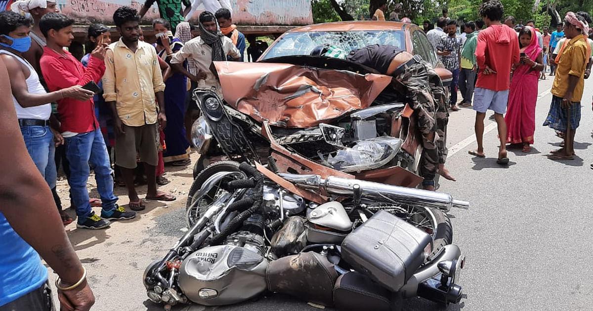 नशे में धुत बिहार के ड्राइवर ने रामगढ़ में तीन बाइक सवारों को ठोकर मारी, बोकारो के युवक की मौत, तीन गंभीर रूप से घायल