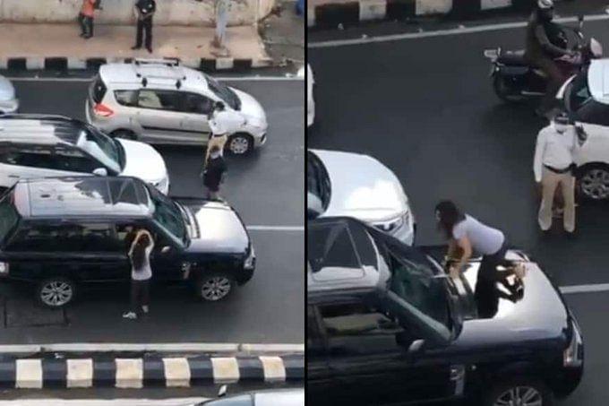 बीच सड़क पर पति को दूसरी महिला के साथ देख लिया पत्नी ने, फिर इस तरह मचाया हंगामा, Video वायरल