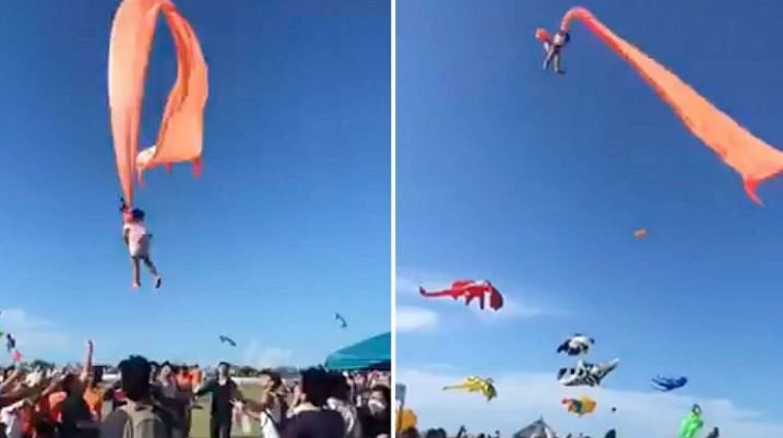 पतंग के सहारे हवा में उड़ी बच्ची को देखकर उड़ जाएंगे आपके होश, देखिए वायरल VIDEO