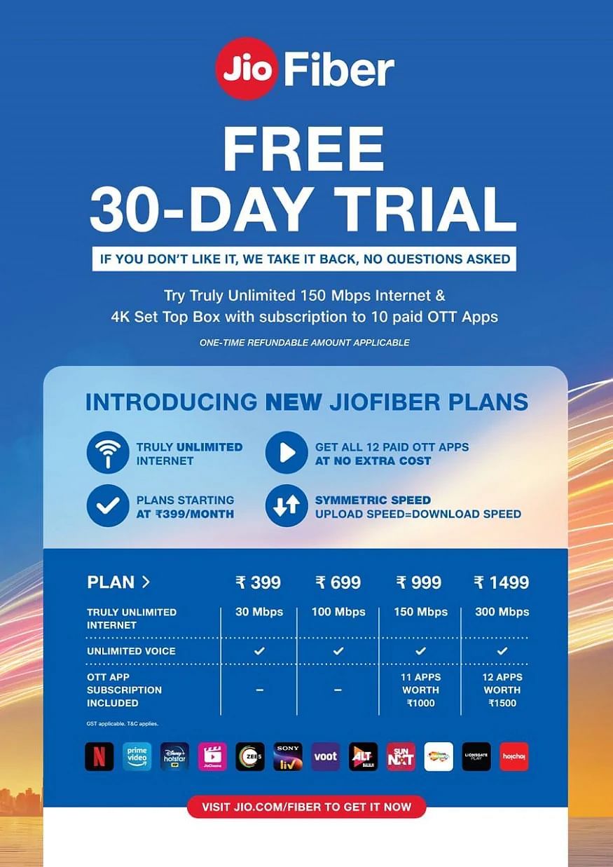 reliance jio fiber new plans starts from rs 399