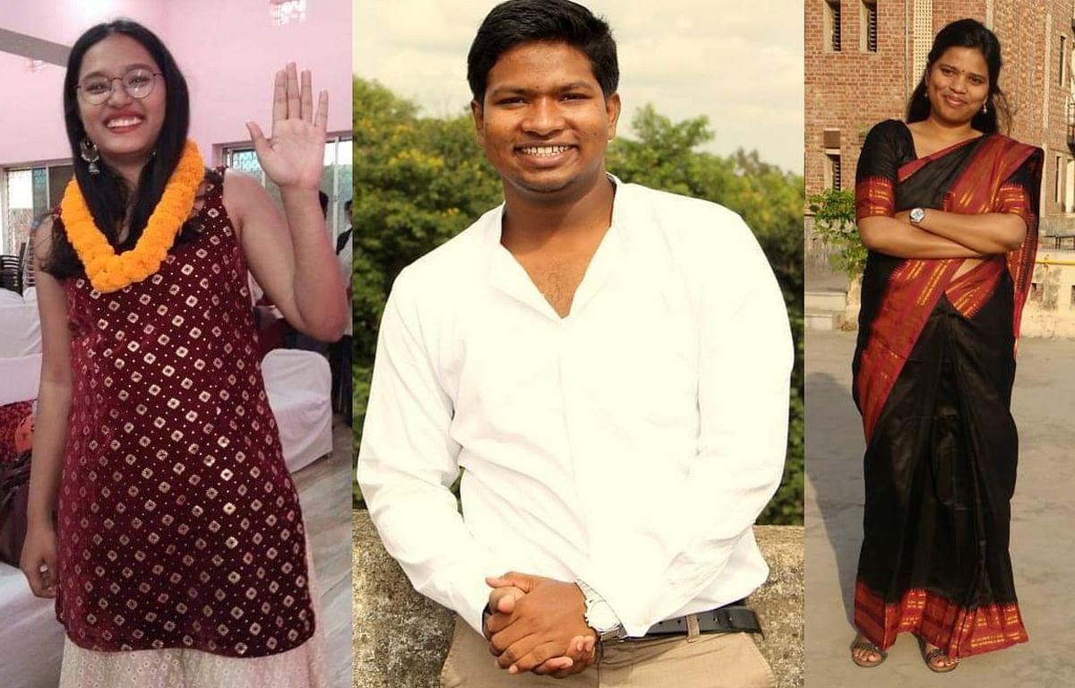 Jharkhnd news : सिविल सेवा परीक्षा, 2019 में सफल रांची की डॉ आकांक्षा शिक्षा खलखो (बायें) और रोबिनसन गुड़िया (बीच में) और खूंटी की रीना हांसदा (दायें).
