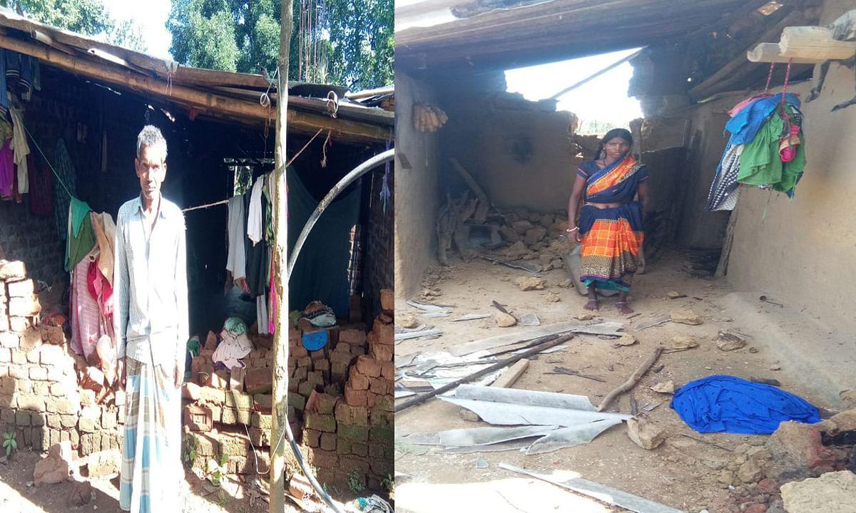 हाथियों ने कर्री और तिसरी गांव के 2 घरों को किया क्षतिग्रस्त, धान की फसल को रौंदा