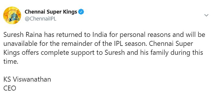 IPL 2020 Updates : धौनी को लगा बड़ा झटका, सुरेश रैना नहीं खेलेंगे आईपीएल