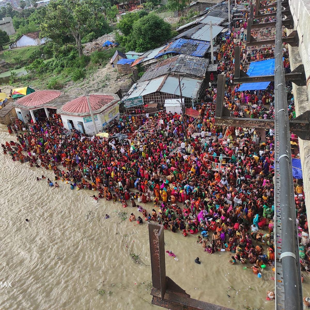 hartalika teej 21 August 2020 : तीज व्रत को लेकर महिलाओं में उत्साह, नहाय-खाय के अवसर पर गंगाघाट पर उमड़ी व्रतियों की भीड़