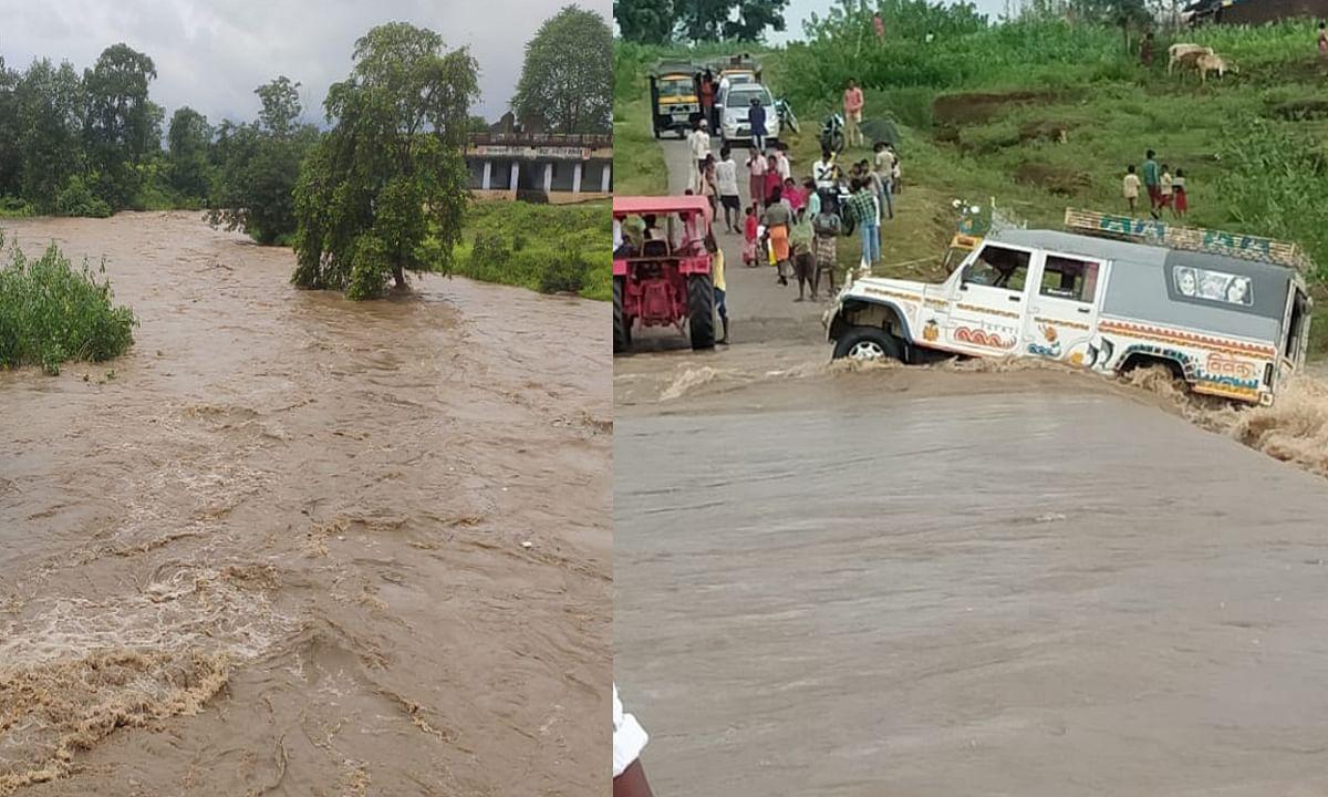लगातार बारिश से मैला नदी पर बड़ा हादसा टला, बहते- बहते बची सवारी गाड़ी, ड्राइवर समेत 4 यात्रियों की बची जान