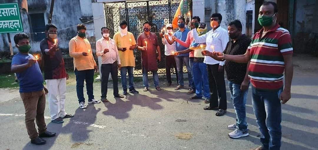 झारखंड में भूख से हुई मौत को लेकर भाजपा ने किया विरोध प्रदर्शन