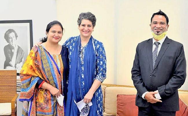 प्रियंका गांधी से दिल्ली में मिले कफील खान, पत्नी व बच्चे भी रहे साथ