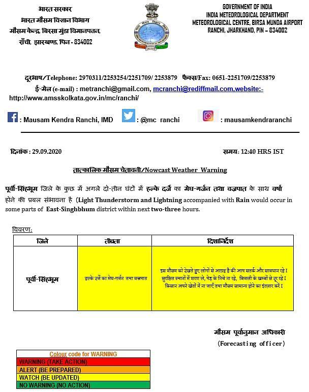 झारखंड के इस जिले में अगले दो घंटे में बारिश