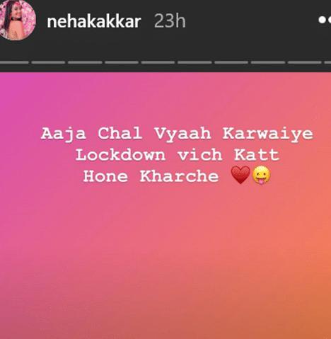 Neha Kakkar instagram story scrrenshot