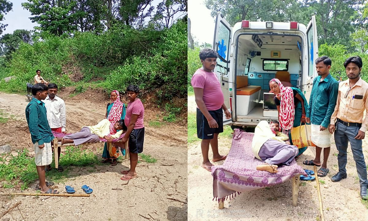 झुमरा के रेडियम गांव में सड़क नहीं, मरीज को मुख्य मार्ग तक खटिया पर ढोकर लाने को मजबूर होते हैं ग्रामीण