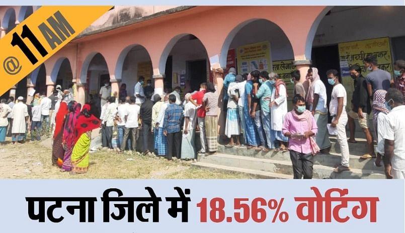 Bihar Election First Phase Voting LIVE Updates:  पहले चरण के शुरुआती घंटे में मतदाताओं ने दिखाया उत्साह, 11 बजे तक 18.48 फीसदी हुआ मतदान