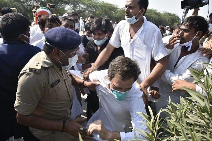 कार्यकर्ताओं  और पुलिस वालों ने की राहुल को पकड़ने की कोशिश