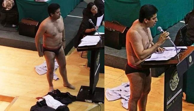 जनहित के मुद्दों को लेकर कांग्रेस में नग्न हुए मेक्सिको के सांसद एंटोनियो गार्सिया, वायरल हो रही तस्वीर