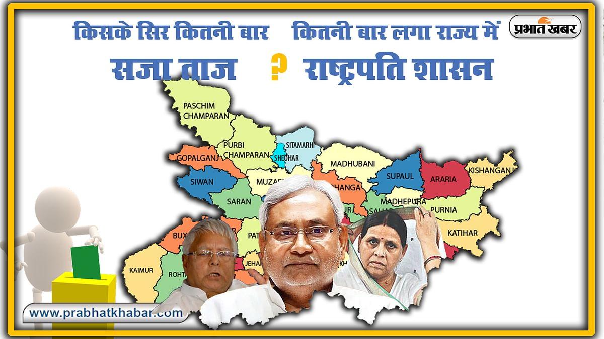 Bihar Election : कुल कितनी बार लगा राज्य में राष्ट्रपति शासन, किस मुख्यमंत्री के सिर कितनी बार सजा ताज ?