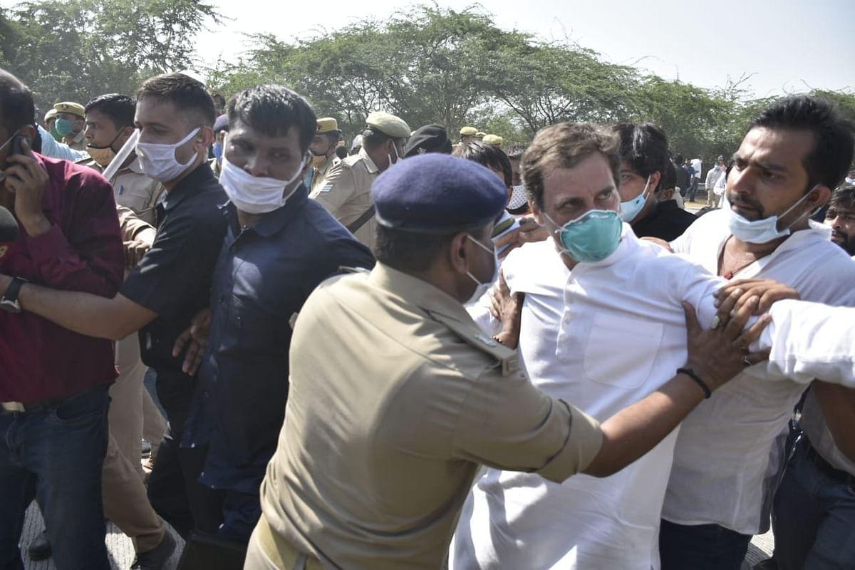 Hathras case : राहुल गांधी ने गिरफ्तारी के बाद  कहा- मुझे पुलिस ने धकेल कर गिराया, डंडे बरसाए, क्या इस देश में सिर्फ मोदी जी और RSS वाले ही पैदल चल सकते हैं?