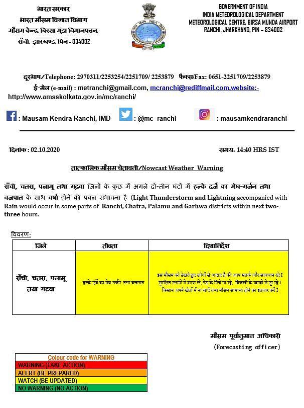 Weather Forecast : बंगाल की खाड़ी में कम दबाव का क्षेत्र, झारखंड में बारिश और वज्रपात का अलर्ट