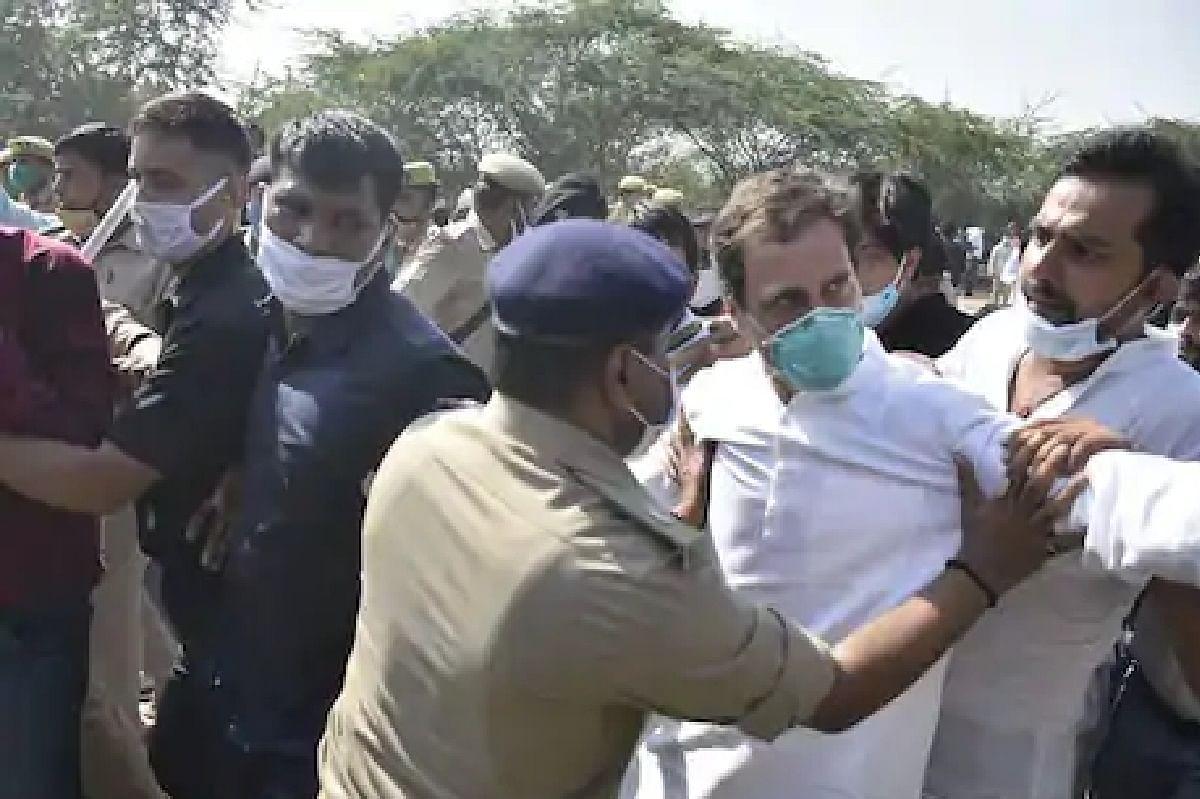 राहुल हाथरस पैदल जाना चाहते थे पुलिस वालों ने रोका रास्ता