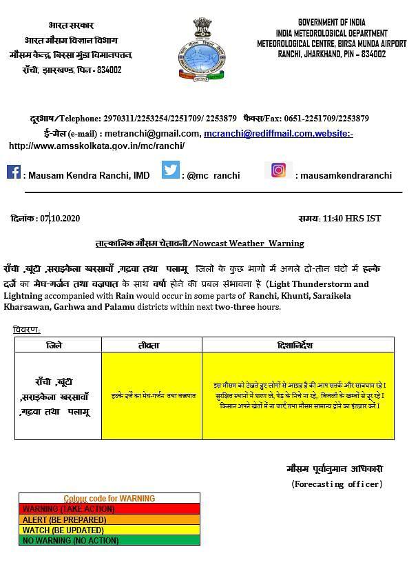 Weather Forecast Updates : झारखंड में होगी बारिश, दिल्ली में वायु गुणवत्ता 'खराब' श्रेणी में, जानें बिहार-यूपी सहित अन्य राज्यों के मौसम का हाल