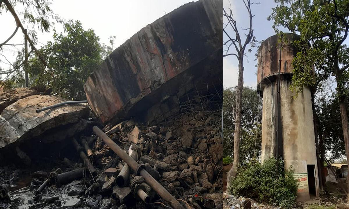 कुजू में भरभरा कर गिर गया 90000 लीटर वाला पानी का ओवर हेडेड टैंक, सैकड़ों लोगों की बाल-बाल बची जान