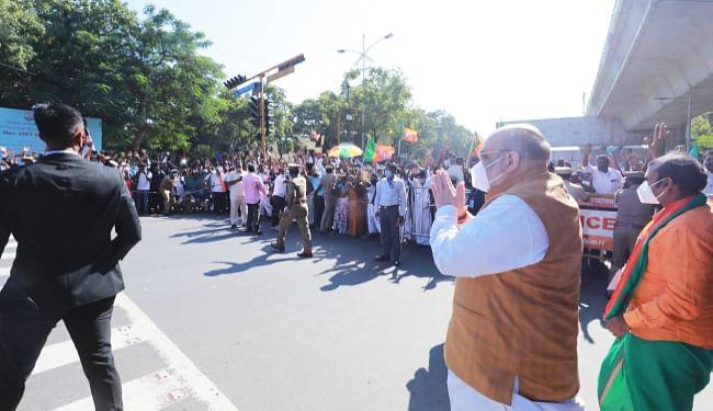 BJP का मिशन 2021 : चेन्नई पहुंचे केंद्रीय गृह मंत्री अमित शाह का गर्मजोशी से हुआ स्वागत, कहा- हमेशा शानदार होता है तमिलनाडु में होना