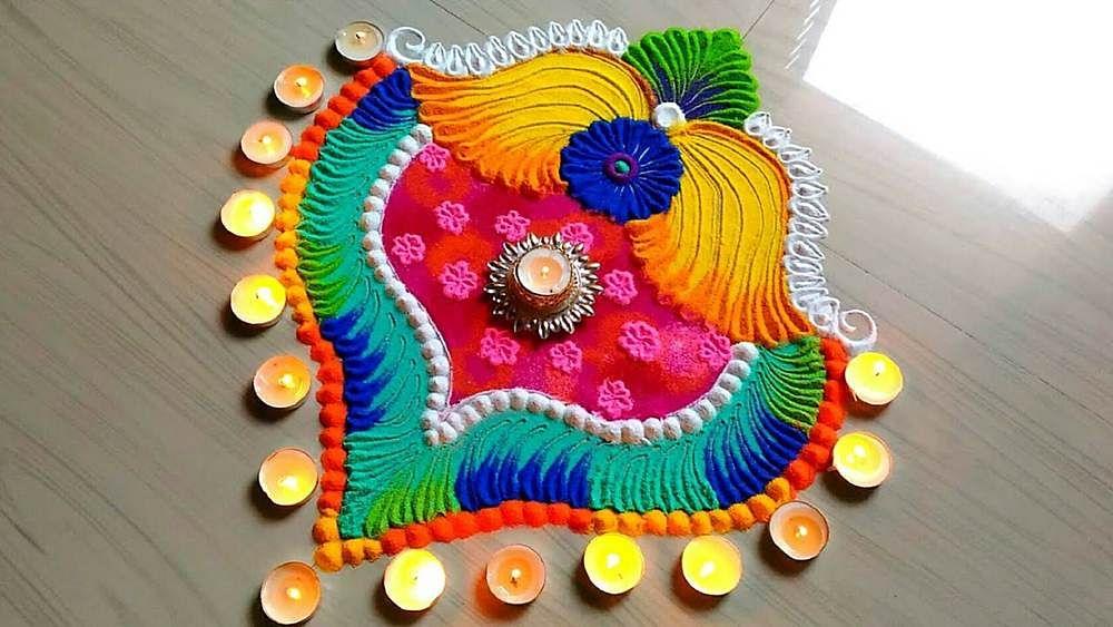 Rangoli Designs for Diwali 2020 Images, Photos, Pics : आसान रंगोली डिजाइन्स बनाएं आटे, हल्दी, कुमकुम व रंग-बिरंगे फूलों से