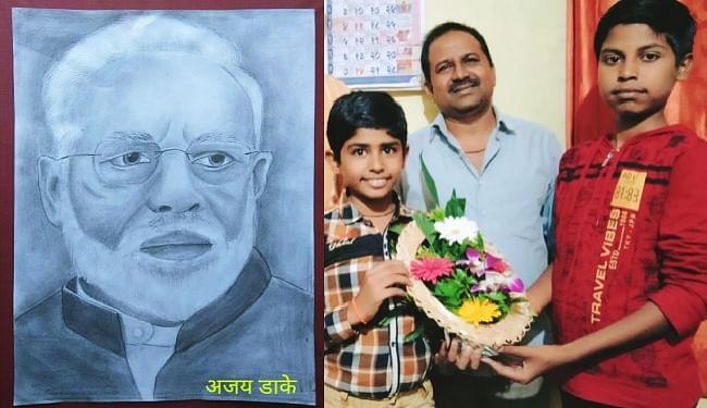छठी कक्षा के छात्र अजय ने बनायी प्रधानमंत्री की तस्वीर, नरेंद्र मोदी ने पत्र लिख कर की तारीफ