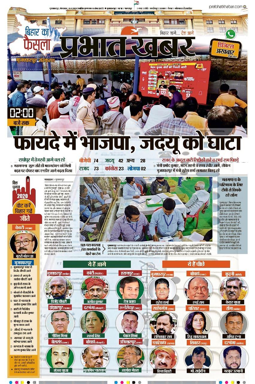 Vidhan Shaba Chunav Update : NDA को पूर्ण बहुमत, राजद बनी सर्वाधिक सीटें हासिल करने वाली पार्टी,तेजस्वी दर्ज की बड़ी जीत, पप्पू यादव चुनाव हारे,शत्रुघ्न सिन्हा के बेटे लव सिन्हा हारे,चंद्रिका राय चुनाव हारे,मांझी जीते, 5 सीट एआईएमआईएम के खाते में
