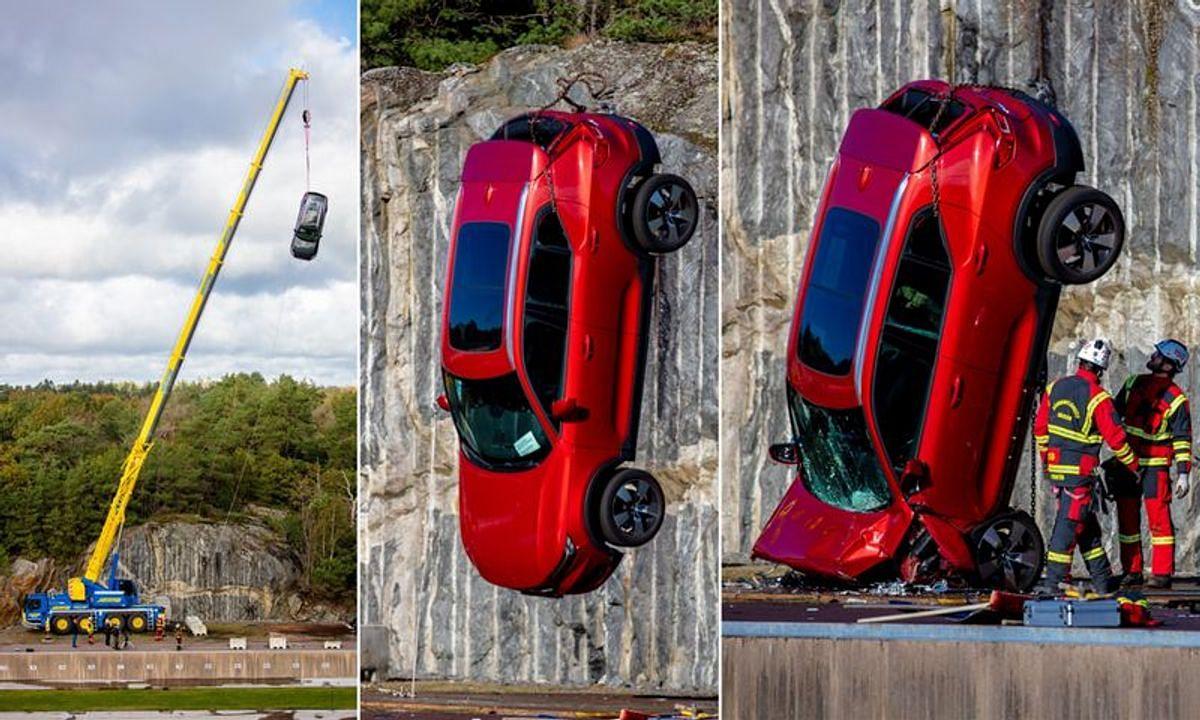 VOLVO अपनी नयी कारों को 30 मीटर गहरी खाई में क्यों फेंक रही है? देखें VIDEO