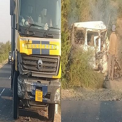 गुजरात में ट्रक-कार की भीषण टक्कर, आग में जलकर खाक हुई कार, सात लोगों की मौत