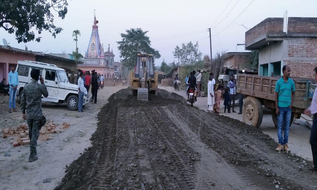 गोलवाढाब में सड़क निर्माण का ग्रामीणों ने जताया विरोध, किया पथराव