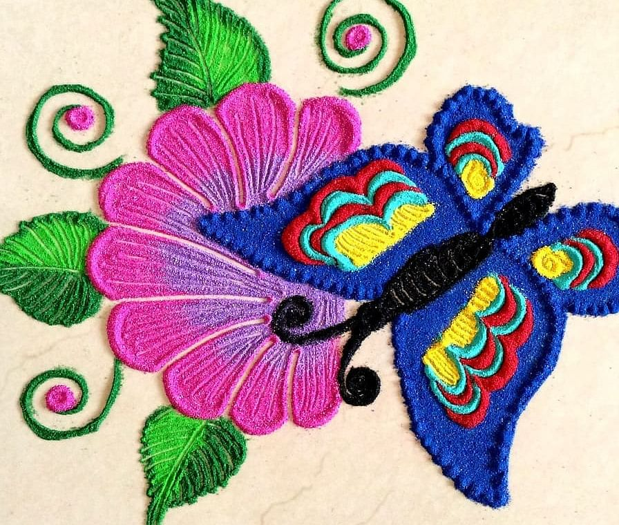 Butterfly Rangoli Design