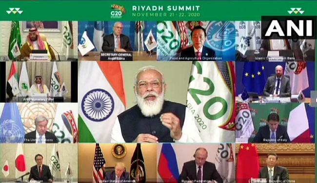 जी-20 के 15वें शिखर सम्मेलन में वीडियो कॉन्फ्रेन्सिंग के जरिये शामिल हुए PM नरेंद्र मोदी