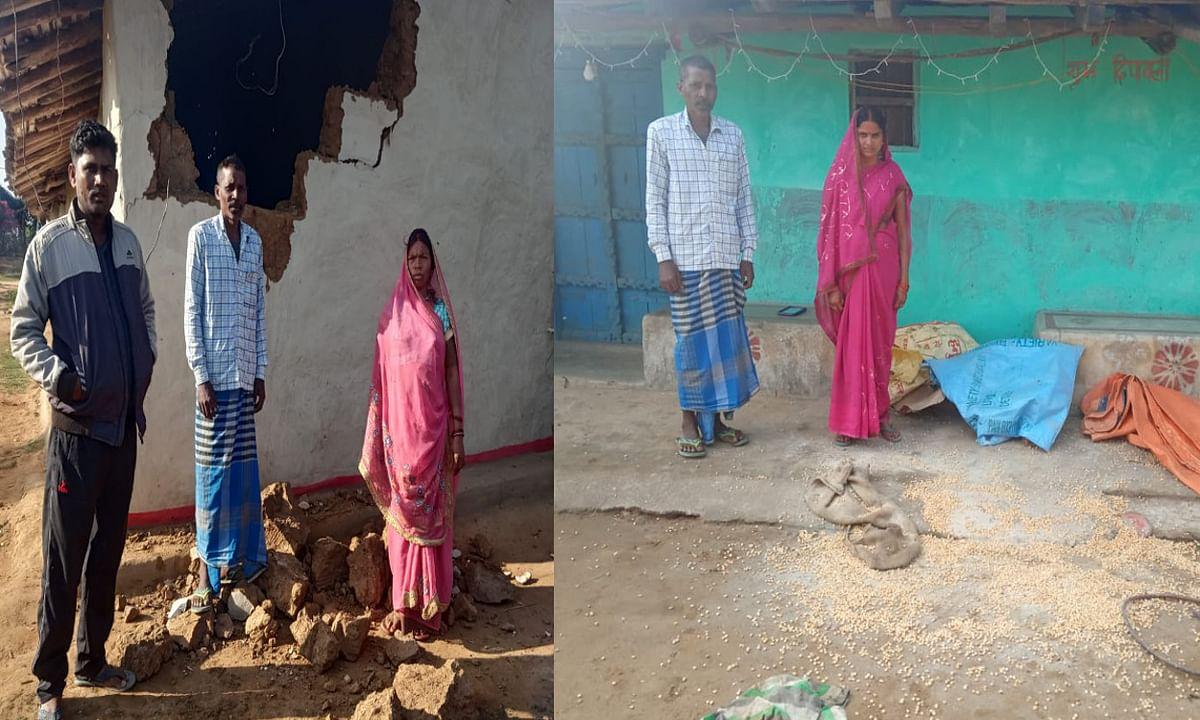 रमकंडा के दर्जनों गांव हाथियों के आतंक से परेशान, मकई व धान खाने की चाहत में कई घरों को किया क्षतिग्रस्त