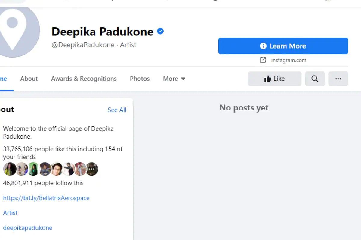 Deepika Padukone facebook screenshot