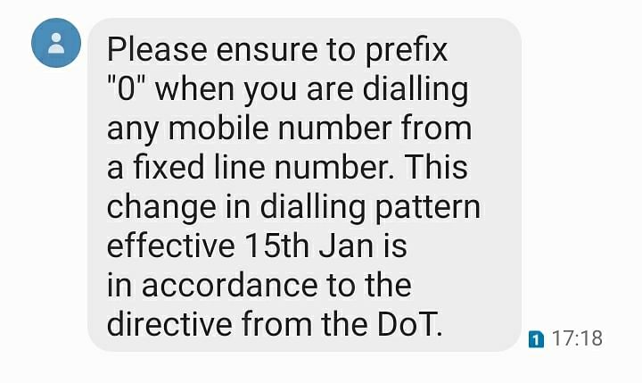 reliance jio message to users about number change