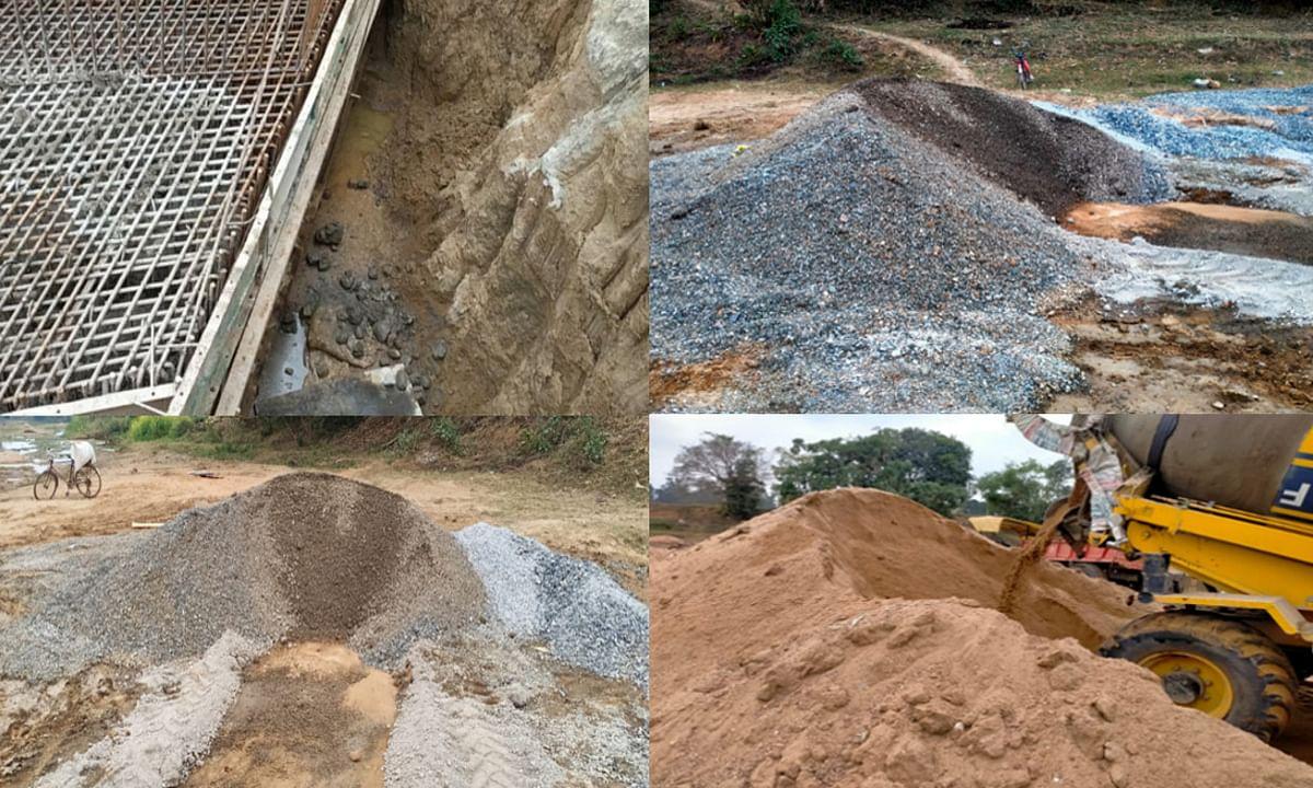 बड़कागांव के चोरका नदी पर पुल निर्माण में लापरवाही, ग्रामीणों ने विरोध में काम कराया बंद