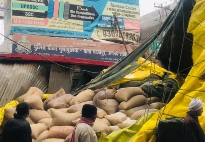 कोहरे का कहर, लखनऊ में पुलिस चौकी में घुसा तेज रफ्तार ट्रक