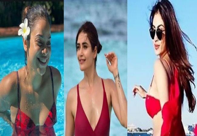सुमोना चक्रवर्ती, मौनी रॉय, करिश्मा तन्ना? किस एक्ट्रेस का है रेड बिकिनी में हॉटेस्ट लुक? BOLD PHOTOS