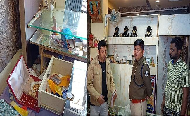 ज्वेलरी दुकान से चोरों ने उड़ाए 13 लाख के आभूषण, सीसीटीवी में आया संदिग्ध, पहचान करने में जुटे पुलिस पदाधिकारी