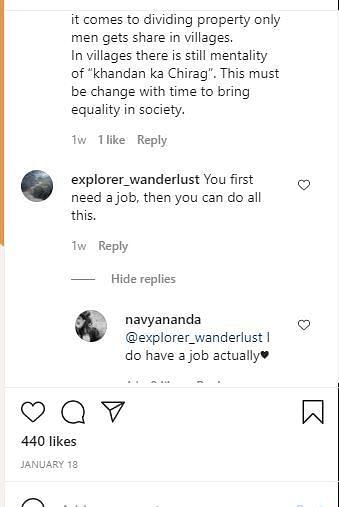 navya naveli nanda instagram screenshot