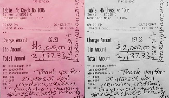 दंपती ने रेस्तरां के कर्मचारियों के लिए छोड़े 1.45 लाख रुपये टिप, ...जानें क्या है कारण?