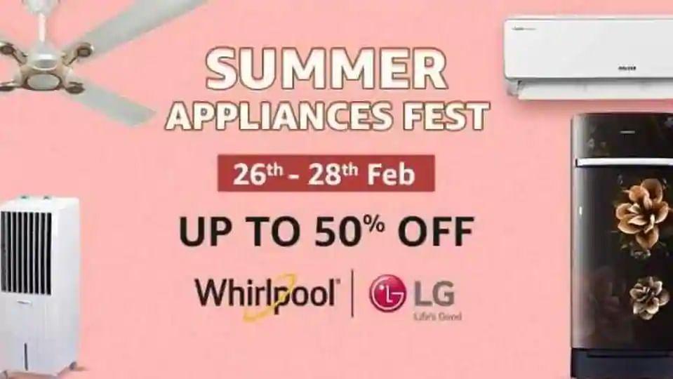 Amazon Summer Appliance Sale : ब्रांडेड AC, फ्रिज, पंखा, कूलर पर यहां मिल रही 50% तक की छूट, देखें Top Deals